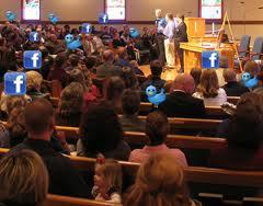 Facebook n text in church