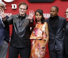 Cast members Jackson Tarantino Washington Foxx and Waltz pose on red carpet for German premiere in Berlin