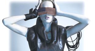 Woman with black futuristic glasses