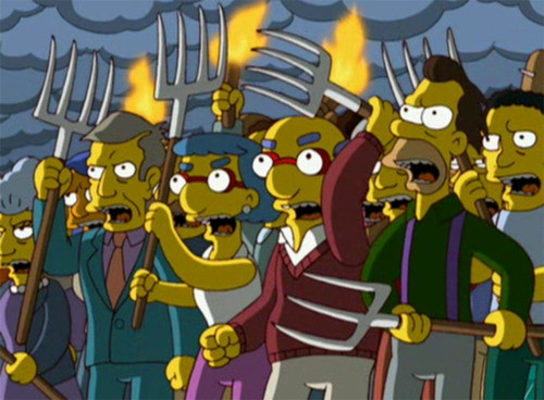 Simpsons-angry-mob parents mad youth ministry