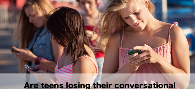 Serious Teenagers on Smartphones