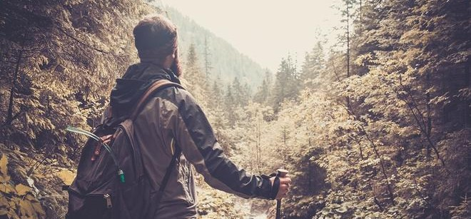 THE MAN HIKING OUTDOORS