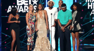 LOS ANGELES, CA - JUNE 28:  (L-R) Actors Lauren London, Brittany Daniel, Wendy Raquel Robinson, Jay Ellis,  Coby Bell, Hosea Chanchez and recording artist/actress Brandy speak onstage during the 2015 BET Awards at the Microsoft Theater on June 28, 2015 in Los Angeles, California.  (Photo by Mark Davis/BET/Getty Images for BET)