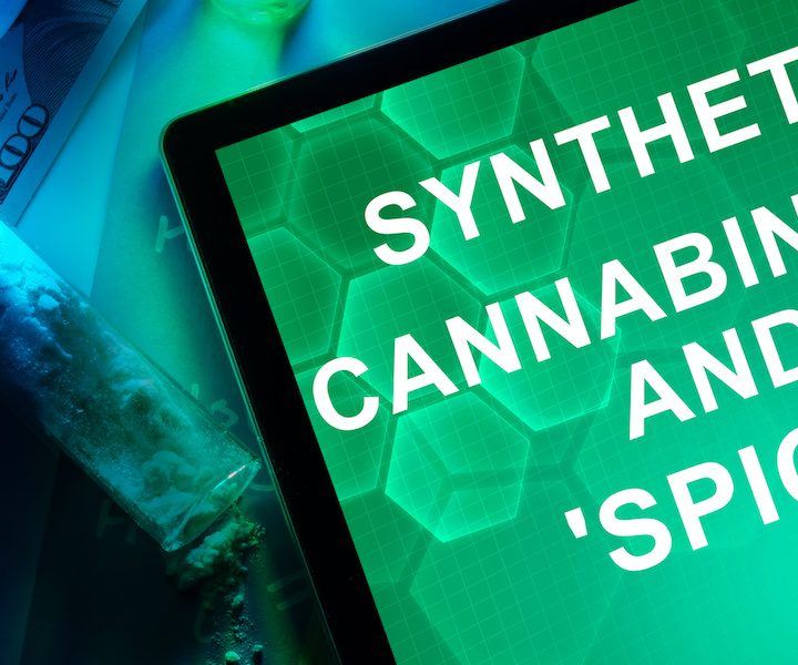 Tablet with the words Synthetic cannabinoids and Spice.