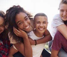 Teenage school friends fun smile