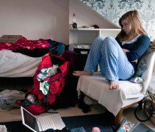 Teenaged girl tv  bedroom