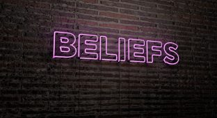 BELIEFS -Realistic Neon Sign on Brick Wall background - 3D rendered royalty free stock image. Can be used for online banner ads and direct mailers.