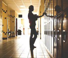 School student girl sad alone leader