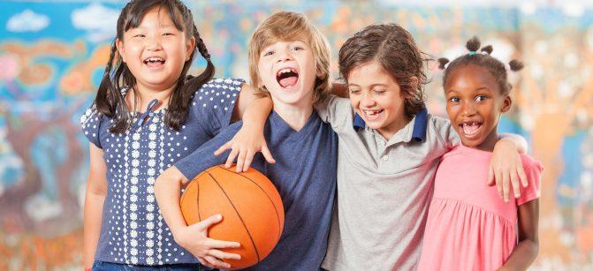 Elementary kids sport school children basketball at school.