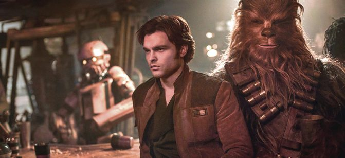 "Walt Disney Studios Motion Pictures Alden Ehrenreich as Han Solo, left, and Joonas Suotamo as Chewbacca in a scene from Ron Howard's ""Solo."""