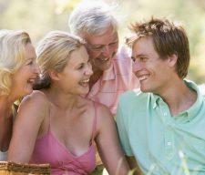 Parents family  adult children on picnic
