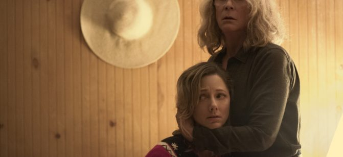 "Laurie Strode (Jamie Lee Curtis) tries to protect her daughter Karen (Judy Greer) in ""Halloween."" Jamie Lee Curtis returns to her iconic role as Laurie Strode, who comes to her final confrontation with Michael Myers, the masked figure who has haunted her since she narrowly escaped his killing spree on Halloween night four decades ago."