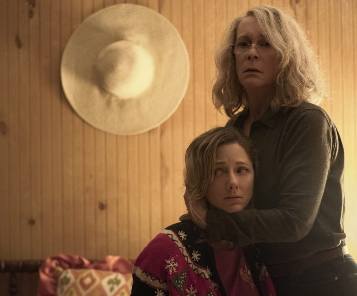 """Laurie Strode (Jamie Lee Curtis) tries to protect her daughter Karen (Judy Greer) in """"Halloween."""" Jamie Lee Curtis returns to her iconic role as Laurie Strode, who comes to her final confrontation with Michael Myers, the masked figure who has haunted her since she narrowly escaped his killing spree on Halloween night four decades ago."""