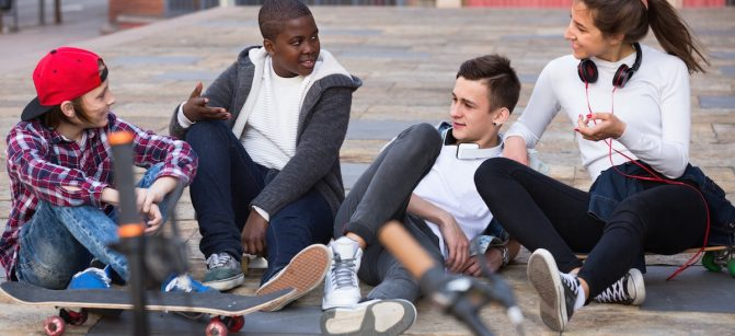 Teens g hanging out