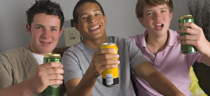 Teenage Boys Drinking Beer
