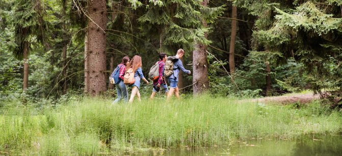 Teenagers with backpacks hiking in forest. Summer vacation adventure.