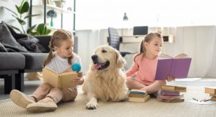 Dog kids read girl