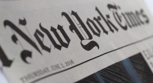 News media  New York Times Newspaper Header Sign
