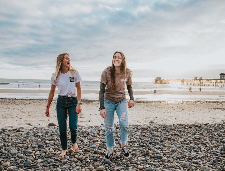 Teen girl beach talk