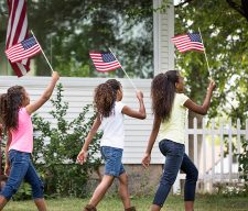 USA flag black kids